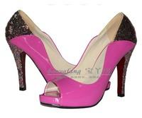 Woman Summer Pump Peep Toe High Heels Glitter Pumps Party Shoes Big Size