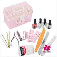 18pcs/set Nail Art Multifunctional Nail Box Base Oil Dotting Pen French Sticker Nippers Clipper Block Buffing Buffer Nail Tools