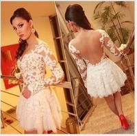 New Women& Lace Party Dress Fashion Lady Crochet elegant Dresses Long Sleeve Sexy Cut Out White Tulle vestido de festa