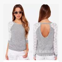 2015 Sweatshirt Women hoodies Spring Autumn Lace Pullover Casual Plus Size Hoody Long Sleeve Tops cardigans Sudaderas moleton