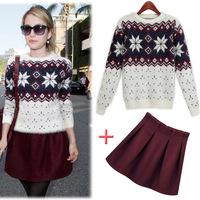 2014 European American new Slim women's winter shirt printing Mohair sweater miniskirt sets 9381