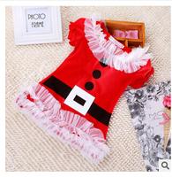 New 2015 dress girls' dresses,  red casual dress belt design  girl Merry Christmas red  Dress retail dress