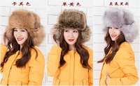 2014 Free shipping Winter real farms Ushanka Bomber hat Fashion women fur hat fox fur hat