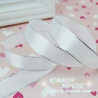 satin ribbon 20mm 2cm white silver ribbon cloth divisa ribbon gift packaging