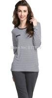 2014 Women's Cute Soft Striped Loungewear Pyjama Sleepwear Pajama Set nightgown pajamas winter robe Free shipping