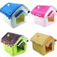 Hot Selling Unique polka dot Pet Dog Cat Bed Dome Soft Dog House Warm Folding Dog Kennel Washable Size 40x35x40CM