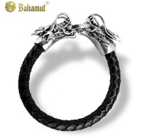 Bahamut titanium steel jewelry Personality Double Dragon Bracelet Fashion Accessories Men's jewelry Never fade Free shipping