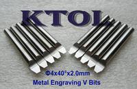 10PCS 40 Angle 4x2.0mm V PCB Cutter Carbide Router Bit CNC Engraving Tools Set,Mini CNC Router Bit Cutter for Metal Engraving