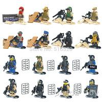 Armed Squad Navy Seal Team SWAT Army Police Officer Riot Minifigures 16pcs/lot Toys Building Blocks Sets Model Bricks Figure