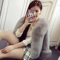 Fashion fur fox fur coat entire Pippi grass Rex velvet sleeves imitation fur short paragraph  free shipping