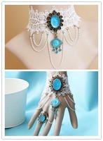 NECKLACE+BRACELET SET white lace blue crystal women jewelry set cheap fashion jewelry sets blue flower pendant necklace set