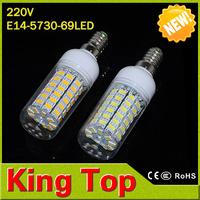 NEW SMD5730 69LEDS E14 20W LED Lamp ,Warm white/ white 220V led lights,360 degree bulb lighting lampada led with CE ROHS