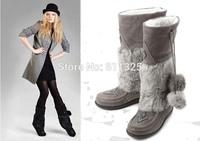 size 41 2014 winter CANADA brand MUKS women bead suede leather rabbit fur super warm snow boots lady sheep fur flat boot