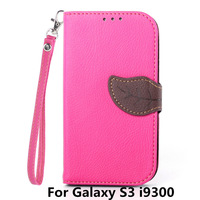 New leaves mixed colors PU wallet Phone case cover For Samsung Galaxy S3 SIII i9300 I9308 Phone Bags