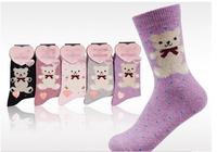 F10944-5 5 Pairs Winter Warm Rabbit Wool Socks Polka Dot Socks For Women Lady