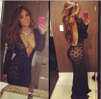 Hot New Lady Sexy Black Lace Bandage Party Clubwear Women Long Sleeve Deep V neck Backless  Maxi Long Side Slit Dress
