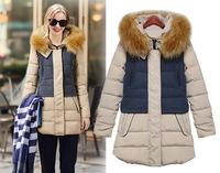 2014 European American fashion long-sleeved Slim Nagymaros collar contrast color Thicken long women's winter down jacket coat