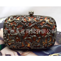 New Arrival Vintage Hollow Flower Clutch Evening Bag High Quality Skull Carved Coppery Party Hard bag For Women