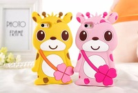 Free Shipping New arrival fashion Cute Cartoon 3D cases For iphone5S Deer pattern Silicone Case Cover For iphone 6 6Plus 4.7/5.5