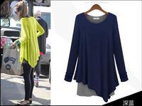 Free Shipping Hot Sale Autumn&winter Fashion Style Irregular Faux Two Piece Set Loose Long-sleeve Fresh One-piece Dress 354