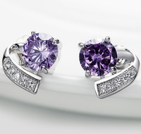 FD1199 Romantic Silver Plated Crystal Rhinestones Purple Sapphire Earring Stud
