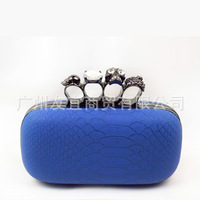 New Arrival Luxury Skull Ring  Style Clutch Evening Bag Python Knuckletbox Party bag For Women