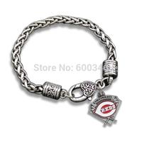 Metal 5MM Llink Chain Cincinnati Reds Charms Retro Bracelet Jewelry 30 Pcs/Lot