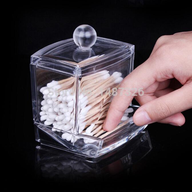 Box Clear Acrylic Q-tip Holder Box Cotton Swabs Stick Storage Cosmetic Makeup organizer women's powder box(China (Mainland))