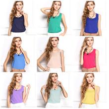 blusas femininas 2015 tanque doce bonito cor tropical tops mulheres blusa casual blusa chiffon roupas baratas china ropa mujer xxl(China (Mainland))