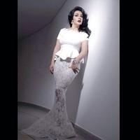 2014 Scoop Peplum Mermaid Vestido de fiesta Ivory Evening Gowns With Short Sleeve