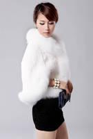 Leather grass jacket coat wool waistcoat cloak luxury high imitation fox fur collar free shipping