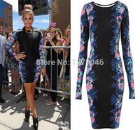 Christmas 2015 New Fashion Womens Celeb Floral Print Long Sleeve Midi Bodycon Ladies Party Evening Black Dress