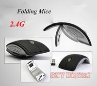 1200DPI 2.4G Wireless Ergonomic Arc Mouse with Mini USB Receiver Cool Black