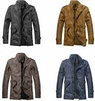 2014 Autumn Winter Men Turtleneck Jacket Coat Leather Outerwear Windbreaker 4 Color With Sizes XL XXL XXXL
