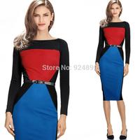 2014 Hot  Fashion OL Women slash neck neck  Full  Sleeve Sheath Shift Party Cocktail Patchwork career dress Y163