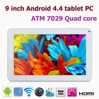 New 9 inch Android 4.4 tablet pc ATM 7029 Quad core 512MB/8GB Dual camera with Wifi HDMI castscreen tablet pc 9