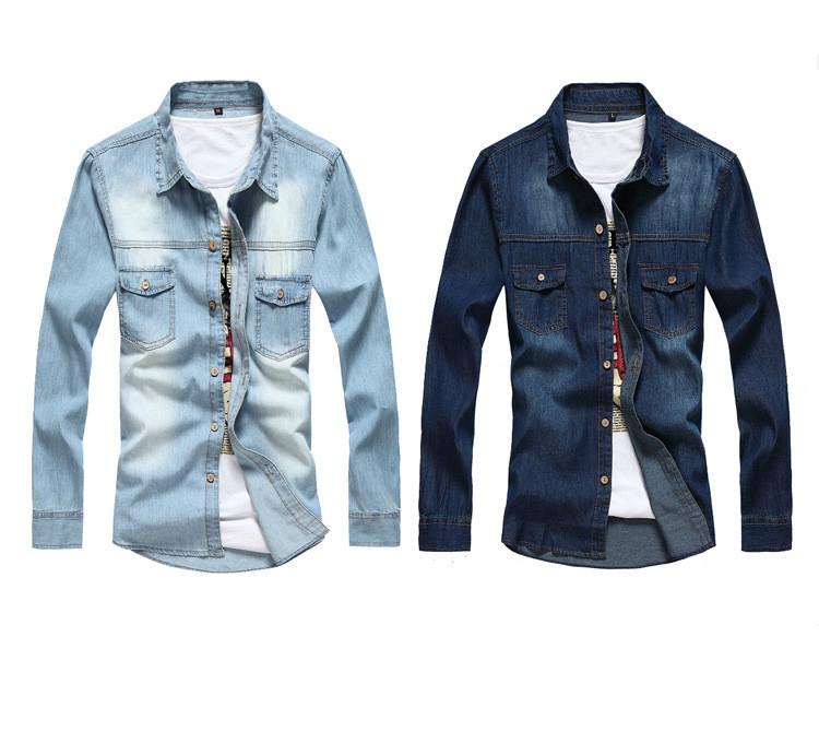 Marka erkek ceket ince uzun kollu denim softshell ceket erkek moda