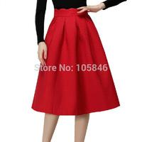 2015 New Arrival Spring European Style Top Fashion Women Elegant Wave High Waist Diamond Embossing Vintage Ball Gown Skirt