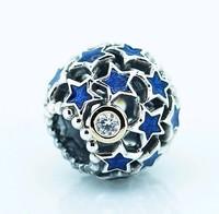 Wholesale 925 Sterling Silver & Real 14k Gold Blue Enamel Night Sky Bead Fits European Style Jewelry Charm Bracelets & Necklaces