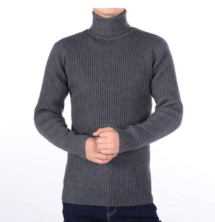 Mens Ribbed Black Turtleneck Sweater - Sweater Grey
