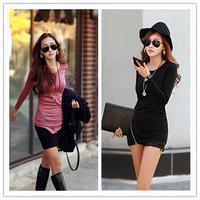 New Arrivals Autumn Korean Style O-neck Long Sleeve Irregular Bottom Shirts Slim Fit Zipper on Sides Female Long T-shirt