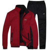 2014 new  Winter Fleece men brand sport suit thickened plus velvet leisure jacket +pant sportwear free shipping
