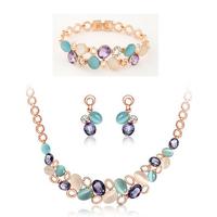Luxury Fashion Charm Brand Design Shiny Rhinestone Gem Opal Necklaces Earrings Bracelet Jewelry Sets Women Wedding Set Jewelry