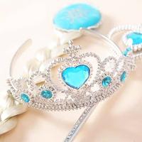 3Pcs/set Frozen Crown Elsa Frozen Crown Cosplay Tiara Hair Accessories set Crown + Wig +Magic Wand girls hair accessories
