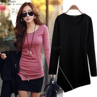 2014 New Fashion Female Plus Size Clothing Casual Shirts O-Neck Autumn Winter Long Sleeve T Shirt Black White Women Tops 2153
