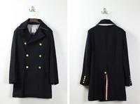 THOMs BROW slits  casual fashion Classic men's badges woolen coat long double-breasted coat male overcoat men windbreaker