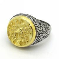 Grey Biker Stainless Steel Gold Finger Ring, Rock Punk Biker Stainless Steel Men's Flower Finger Ring Size 8-13