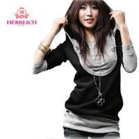 2014 Fashion Women Hoodie Long Sleeve Pullover Fake Two-piece Ladies Jacket Sweatshirts Black Casual Womens Sport Hoodies H12951