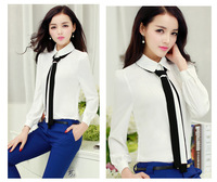 2015 HOT new women chiffon shirts casual spring and autumn bow turn-down ladies blouses many color with a Tie G0587