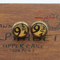 30pairs/lot Harry Potter Platform 9 3/4 Hogwarts Express Earrings